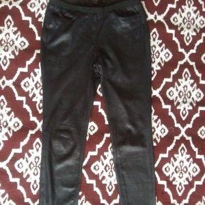 ABS platinum faux black suede leggings.  Size 2